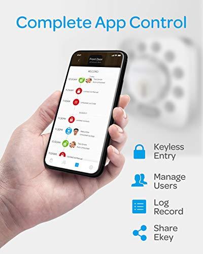 ULTRALOQ Smart Door Lock U-Bolt (Satin Nickel), 5-in-1 Keyless Entry Door Lock with Bluetooth and Keypad, Smart Door Lock Front Door, Non-Fingerprint Deadbolt Lock Edition