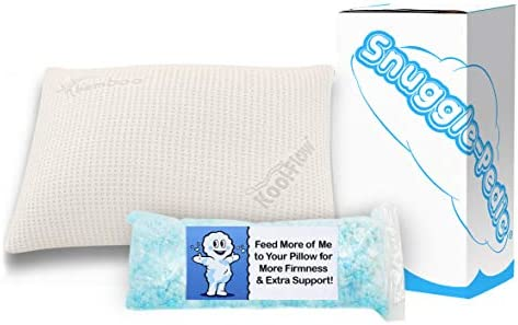 Supreme Plush Ultra-Luxury Hypoallergenic Bamboo Shredded Gel-Infused Memory Foam Pillow Combination with Adjustable Fit & Zipper Removable Kool-Flow Cooling Pillow Cover (Queen)