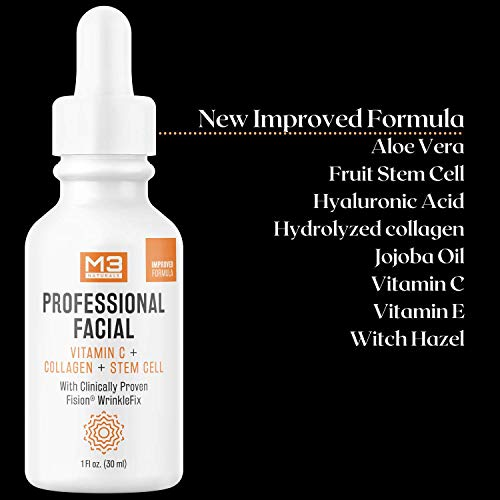 M3 Naturals Vitamin C Serum for Face Infused with Collagen, Hyaluronic Acid, Stem Cell, Vitamin E, Witch Hazel - Anti Aging Serum with Clinically Proven Fision Wrinkle Fix - Facial Skin Care 1 fl oz