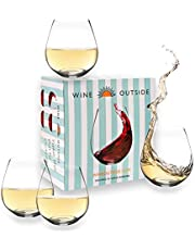 Wine Outside Unbreakable Wine Glasses Dishwasher-Proof | Set of 4 | 18 oz. Elegant Plastic Stemless Wine Glass | Reusable | Ideal for Homes & Bars | Outdoors Camping, Beach, Picnic ● Indestructible