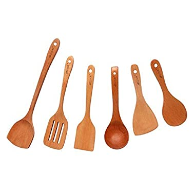 AKcook CFCJ001 Cooking Tool Sets 6-Piece Natural Wood Cookware Gadgets