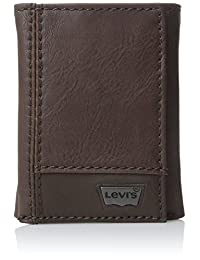 Levis Mens Leather Trifold Two-Tone Wallet