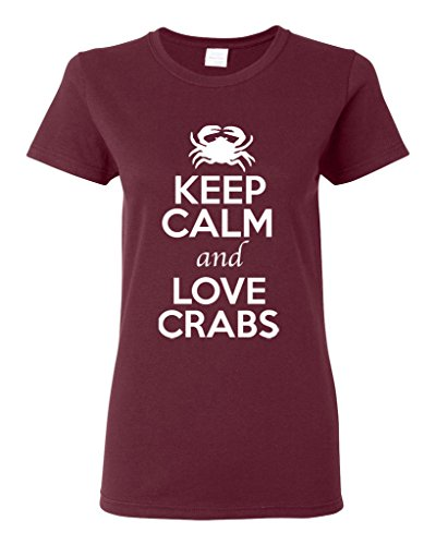 Ladies Keep Calm And Love Crabs Animal Lover T-Shirt Tee