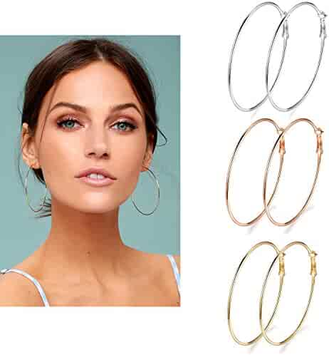 3 Pairs Big Hoop Earrings, 60mm Stainless Steel Hoop Earrings in Gold Plated Rose Gold Plated Silver for Women Girls