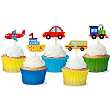 Transportation Cupcake Toppers Car Bus Train Plane Ship DIY Cupcake Toppers for Baby Shower Birthday Party Decorations (30)