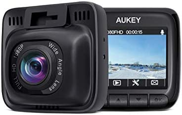 "【2020 Standard Upgrade】 AUKEY Dash Cam Full HD 1080P Dash Camera for Cars with Supercapacitor and 6-Lane 170 Degrees Wide Angle Lens Car Camera with 2"" LCD, Motion Detection, G-Sensor"