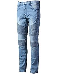 Men's Ripped Slim Straight Biker Jeans