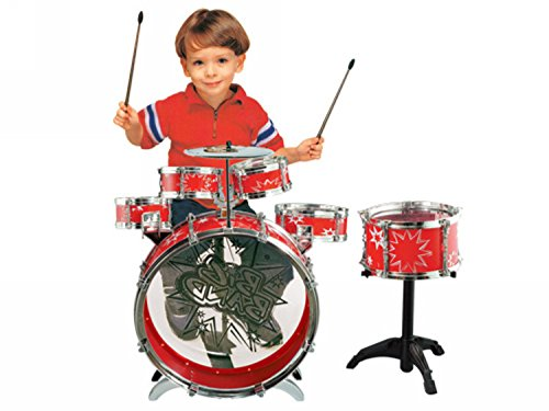11pc kids boy girl drum set musical instrument toy playset red import it all. Black Bedroom Furniture Sets. Home Design Ideas