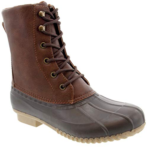 London Fog Womens Wonder Cold Weather Duck Boot Cognac 9 M US