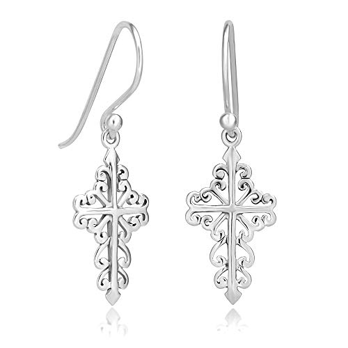 Cross Earrings Sterling - 925 Sterling Silver Celtic Filigree Cross Dangle Hook Earrings