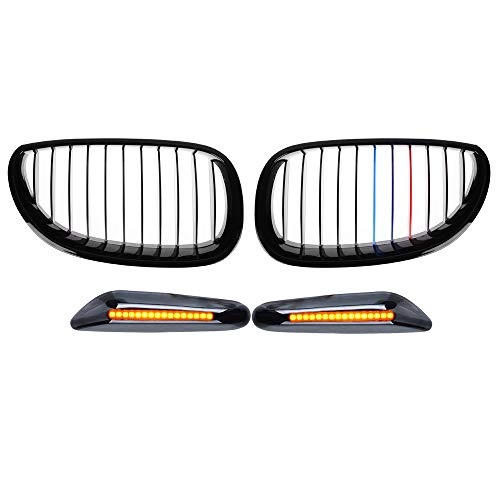 2x Glossy Black M-color Front Upper Kidney Grille and 1 Pair Smoke Amber Yellow 16-LED Side Marker Light Compatible For E60 E61 5 Series 2004 2005 2006 2007 2008 2009 2010 - A19 Impact One Light