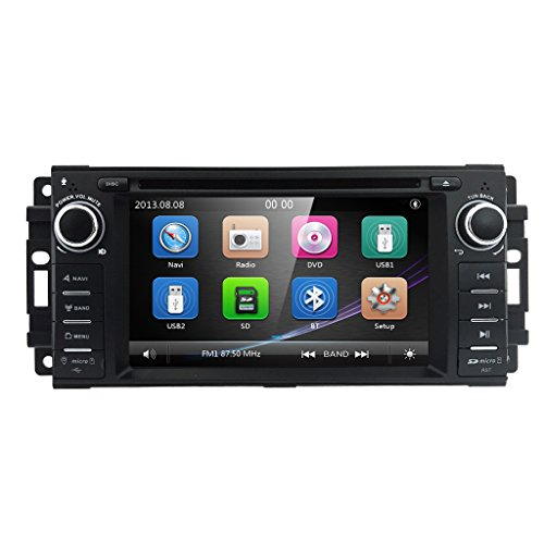 - Hizpo Car Stereo GPS DVD Player for Dodge Ram Challenger Jeep Wrangler JK Head Unit Single Din 6.2