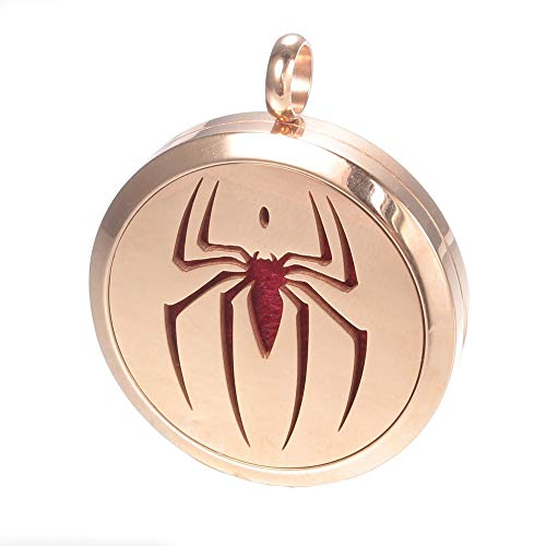 Spider Sense Aromatherapy Necklace, Spiderman Rose Gold Locket Pendant, Chenier Gift Jewelry]()