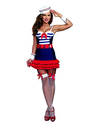 Dreamgirl Women's Sailor's Delight Sea Captain Costume, Multi, Medium