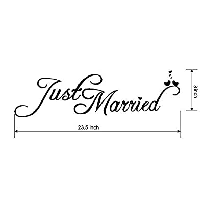 DorAn Just Married Car Decals Just Married Window Stickers Window Cling 8' x 23.5' White: Automotive