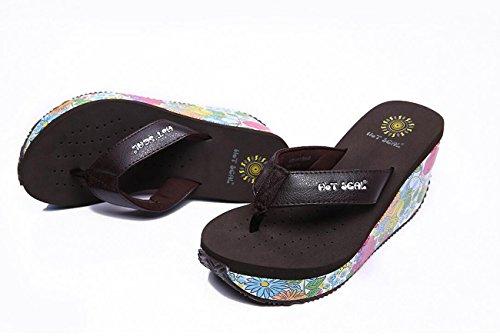 à des tongs pantoufles compensées forme très élastiques Sandales filles plate de chaussures de Black d'été de de hauts femmes talons pour dames d'EVA de q7xxPwHX