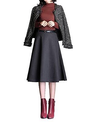 Gihuo Women's High Waist A-line Flared Long Skirt Winter Fall Woollen Skirt