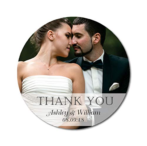 Darling Souvenir Personalized Round Custom Photo Labels Thank You Stickers Wedding Bride Groom Names and Date Envelope Seals-45 Pcs