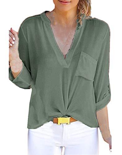 Shirts Blouses Mode Tops Casual Femmes Chemisiers Tee Printemps Couleur Hauts Arme Automne Longues Verte V JackenLOVE Unie Col Chemises Manches P8vSw