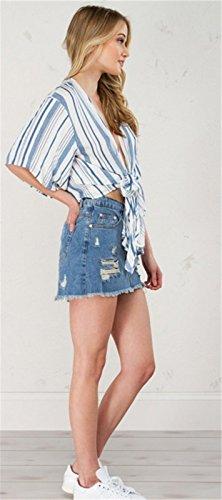 Kimono Sleeve Media manga Escote Triangular en V Cruzado Ceñido Envolvente Delantera con Rayas Blusón Blusa Camisero Camiseta Camisa Corta Corto Crop Top Azul Blanco Azul Blanco con Rayas