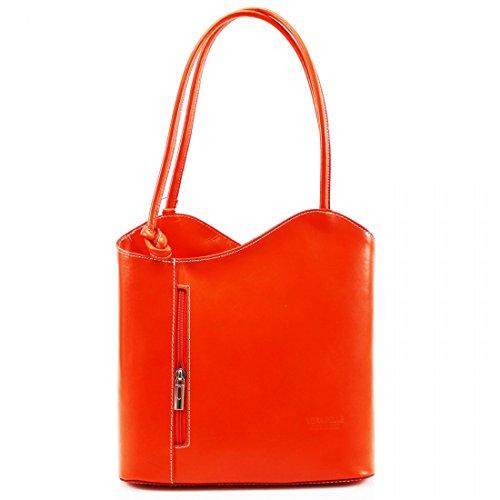 Womens Shoulder Handbag Bucket Real PELLE Orange VERA Italian Backpack Leather RrTRwxZagq