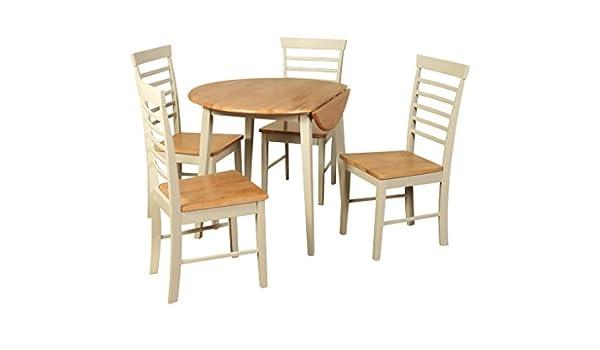 Juego de comedor redondo pintado con piedra de roble – Mesa de comedor extensible de roble pintado con 4 sillas – Juego de comedor de roble pintado redondo – muebles de comedor: Amazon.es: Hogar
