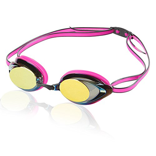 Speedo Women's Vanquisher 2.0 Mirrored Swim Goggles, Panoramic, Anti-Glare, Anti-Fog with UV Protection, Magenta, 1SZ