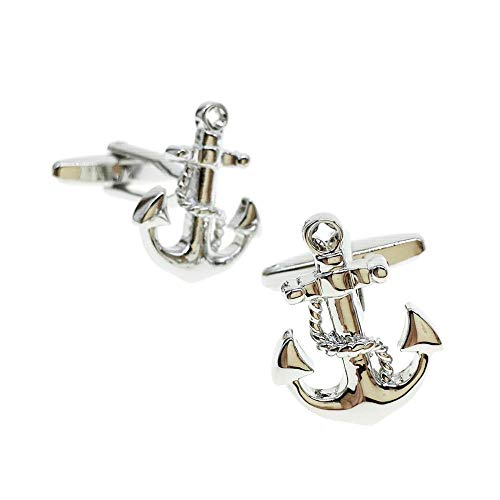 Cuff-Arts Mens Cufflinks Nautical Anchor Wedding Business Shirt Cuff Links for Mens Jewelry with Gift Box C10133