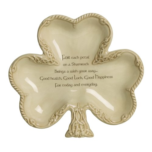 Shamrock Candy - Grasslands Road Celtic 7-1/4-Inch by 8-Inch Shamrock Shaped Bowl with Good Wishes Message