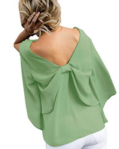 Fashion Shirt Printemps Haut ud Papillon Chemisiers N Tops Nu Fendues Col Blouses Manches Vert Tee Longues Automne et Dos Femmes Onlyoustyle V wtnBqFRFg