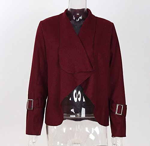 Delle Autunno Lunga Manica Solido Cardigan Drappeggiato Donne Jianlanptt Cappotti Rosso Grande Gira Giù Vino rZPwr