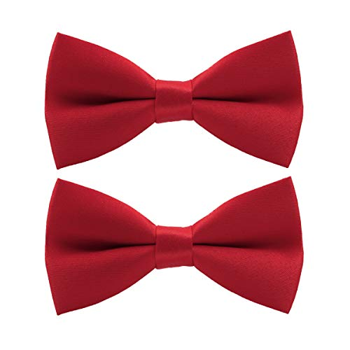 Wirarpa Mens Classic Pre-tied Bow Ties Formal Solid Tuxedo Adjustable Length Neck Bowtie Wedding Christmas 2 Pack Red M