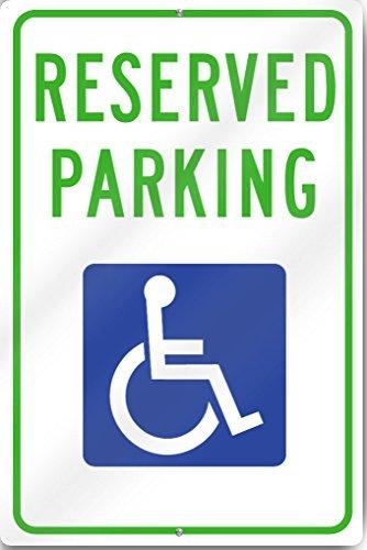 "Reserved Parking Handicap Metal Sign 12"" wide x 18"" tall Heavy Gauge Aluminum by Yerkes"