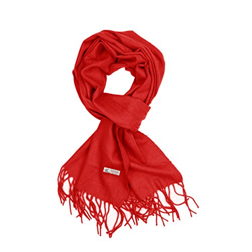 (Plain Solid Color Cashmere Feel Classic Soft Luxurious Winter Scarf For Men Women (Red))