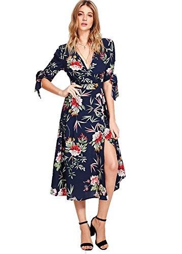 Milumia Women's Boho Deep V Neck Floral Chiffon Wrap Split Long Maxi Dress Navy-1 Medium