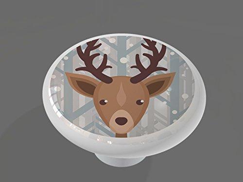Winter Woodland Deer High Gloss Ceramic Drawer Knob
