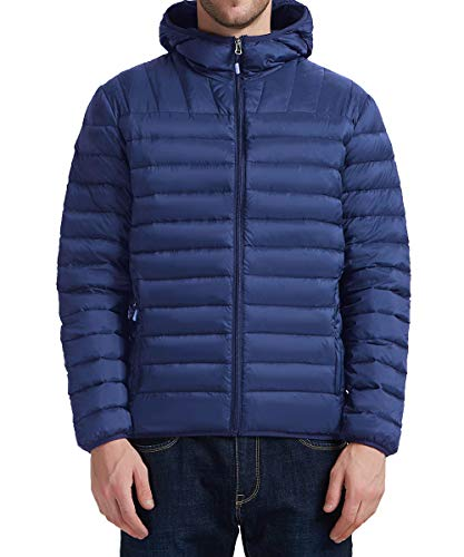 YIRUIYA Men's Insulated Puffer Down Jacket Winter Coat with Hood, Blue, S (Mens Down Jacket 850 Fill)