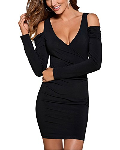 BIUBIU Women's Cold Shoulder V Neck Long Sleeve Bodycon Club Party Dress Black S
