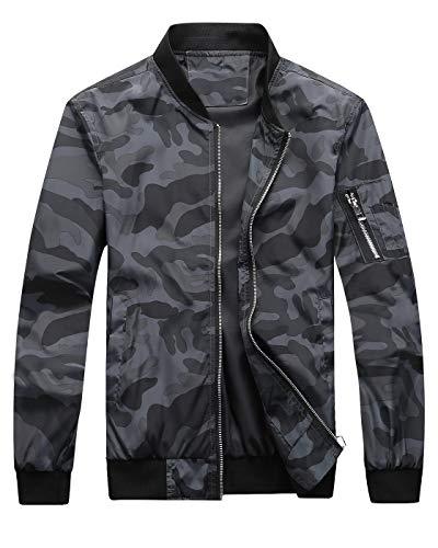 - Fairylinks Bomber Jacket Men Camo Print Outwear, Black, Small