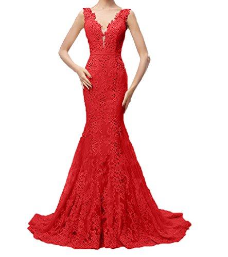 Festlichkleider Trumpet Abschlussballkleider Rot Ballkleider Partykleider Damen Spitze Abendkleider Charmant Etuikleider Lang UwXRn0