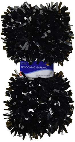 Beistle 50281-BK 6-Ply Flame Resistant Black Metallic Festooning Garland, 4