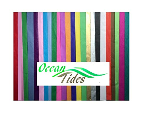 Tissue Paper Gift Wrap Bulk All Colors Wrapping 100 300 or 500 Sheets 15 x 20 Assorted Black Blue Fuchsia Gold Green Orange Pink Purple Red Silver Teal White Yellow ()