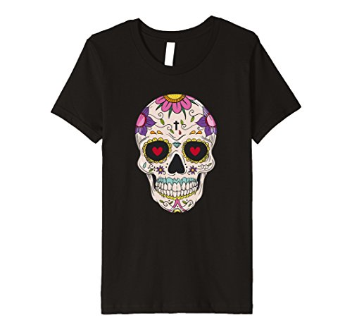 Cute Dead Girl Costume (Kids Funny Cute Day Of The Dead Sugar Skull Costume Tshirt 12 Black)