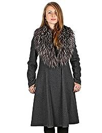 Vera Wang Woman's Gray Fit & Flare Coat with Fur Trim