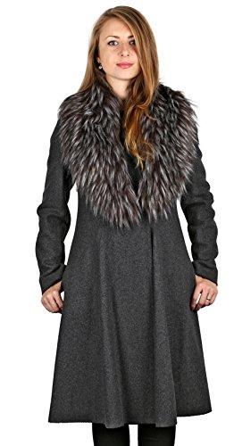 Vera Wang Woman's Gray Fit & Flare Coat with Fur Trim (L)