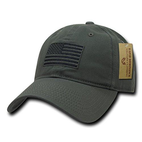RapDom Polo Style American Pride Flag Baseball Caps Tonal Flag Olive One Size