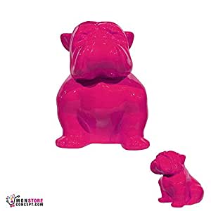 Escultura Bulldog sentado resina rosa 40cm–statuette-sculpture decoración interior/exterior–Reproduction–Animal