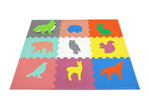 Woodland Animals Play Mat ~ Non Toxic Crawl Mat with Softer, Thicker EVA Foam for Fall Protection, 9 Tiles + 9 Inserts, Patent Pending, 4.5
