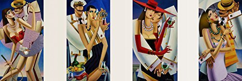 Cruise Art Deco Print (Meet'n'Green Temptation - polyptych with 4 of single paintworks (Tennis + Cruise + Meeting + Green Wine))
