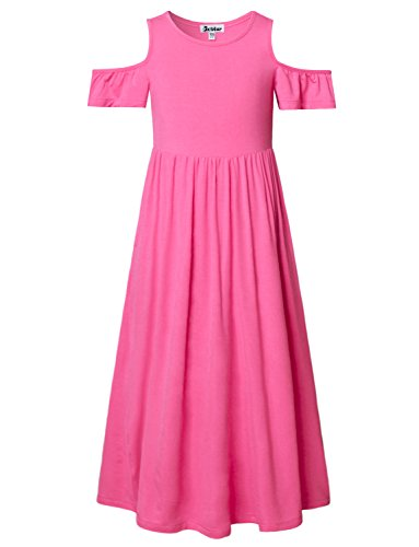 Jxstar Girl MaxiDress ColdShoulderPink Summer Kid Floor Length with Pockets Teens